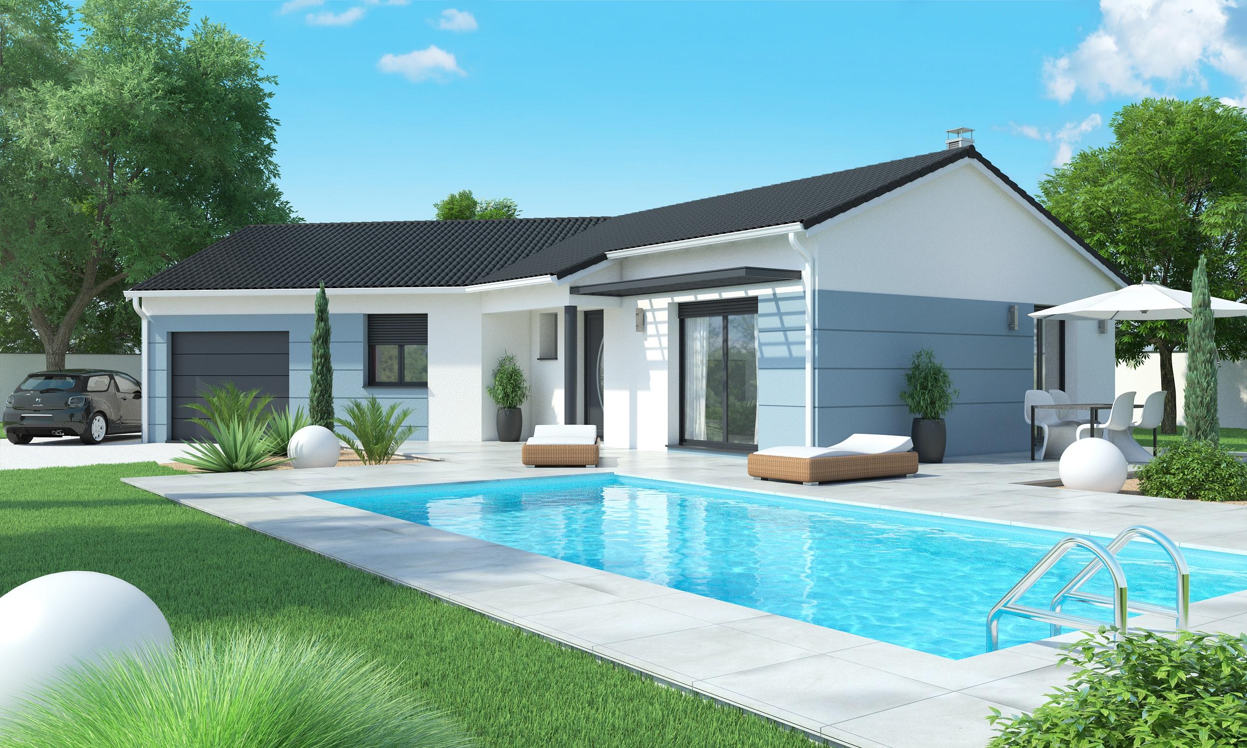 Une maison plain-pied avec piscine